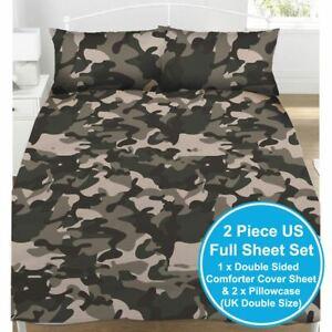 Camouflage-Gris-Housse-de-Couette-Double-amp-Set-Taie-D-039-Oreiller-Literie-Armee
