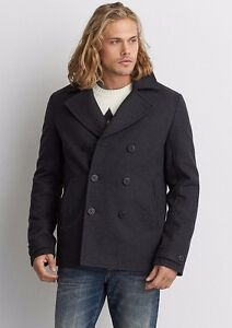 206191ac841 American Eagle Outfitters Mens AEO Wool Peacoat Jacket Winter Coat S ...