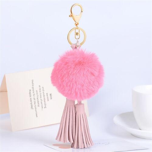Rabbit Fur Fluffy Ball Key Chain Bag Charm Leather Tassels Key Ring Car Pendant