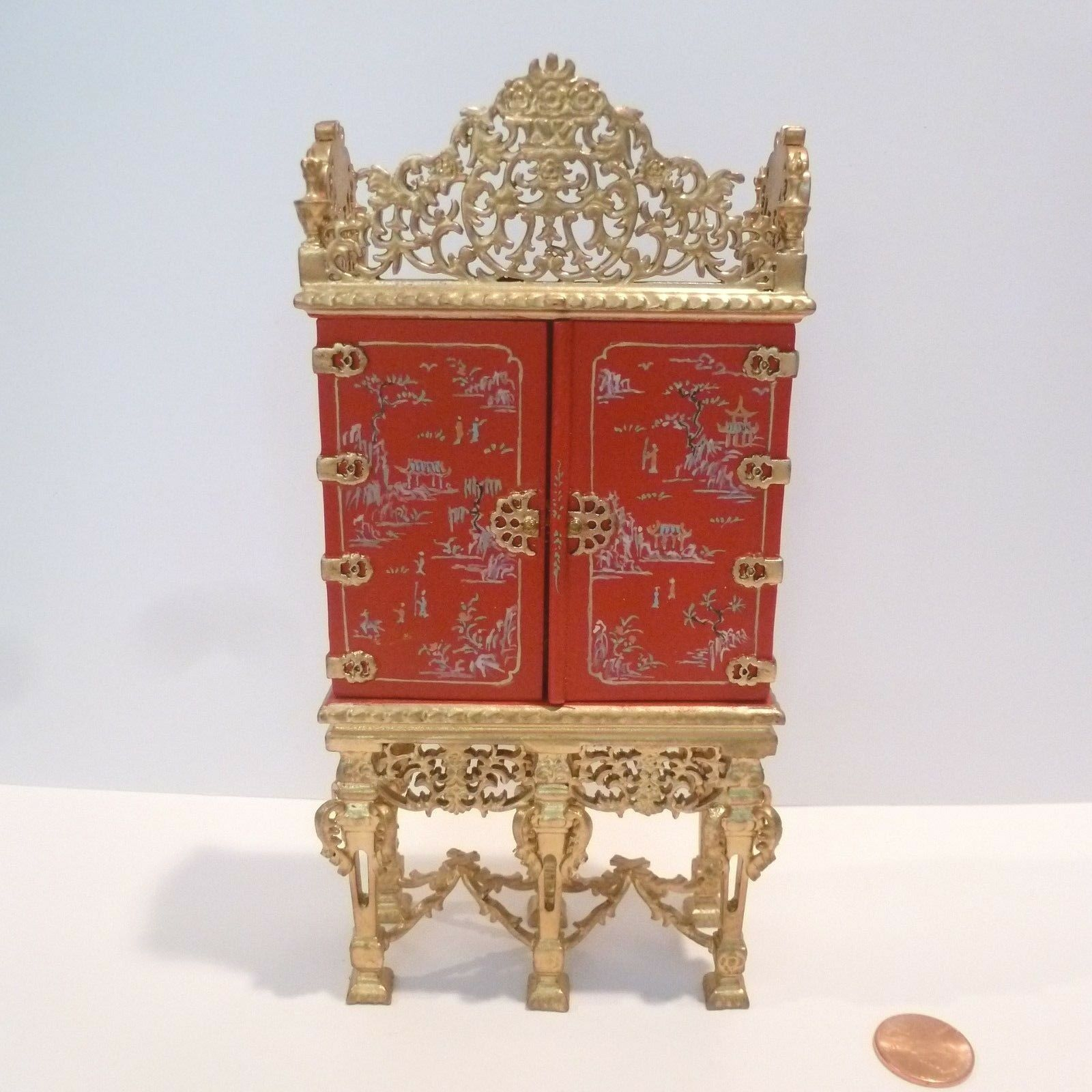 BESPAQ  EXQUISITE GRAND ESTATE CABINET  6000G-CH  HAND PAINTED DESIGN rojo & oro