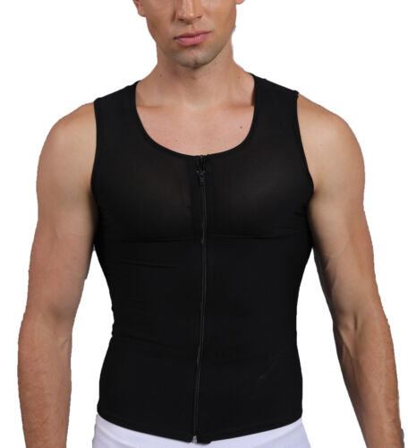 Men Slimming Body Shaper Vest Abdomen Compression Posture Corrector T-Shirt Tops