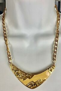 Costume-Fashion-Jewelry-Necklace-20-5-inch-gold-tone-enameled-hook-clasp-adjust