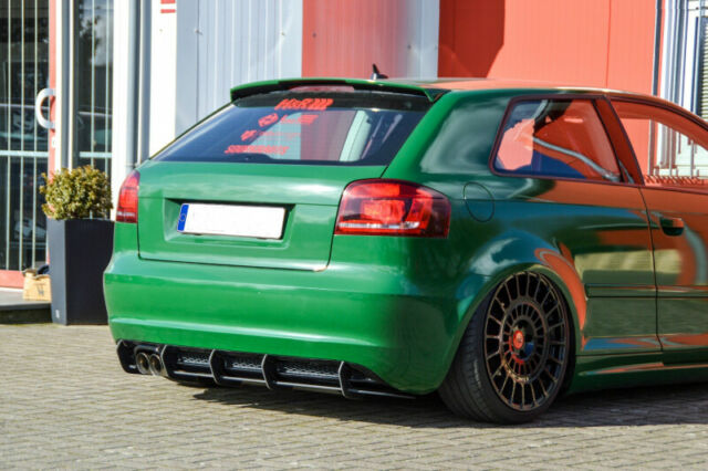 For Audi A3 8P S-Line Rear Bumper Diffuser with ribs fins ...