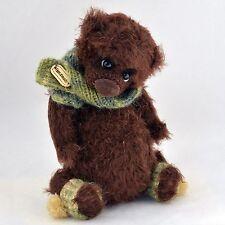 Handmade crochet brown teddy bear, artist miniature, 7in.