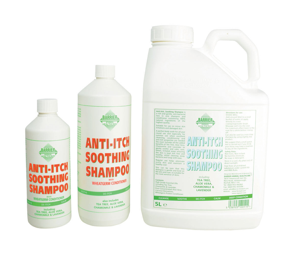 Barrier Anti-Itch Soothing Shampoo 500ml   1L   5L Equestrian Horse Care