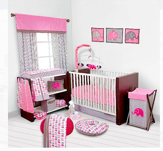 Baby Girl Bedding Bedroom Set Nursery Elephants Infant Room Crib Kids Pink  10 p