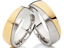 2 fedi nuziali fedi matrimoniali anelli di fidanzamento in acciaio inox Bicolore