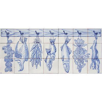 Portuguese Traditional Clay Azulejos Tiles Mural Panel CORREIO MOR BLUE KITCHEN