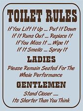 Item 5 Vintage Retro Style Toilet Rules Funny Bathroom Metal Sign Wall Door