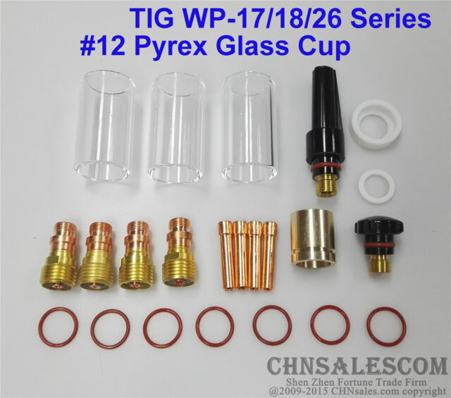 23 pcs TIG Welding Stubby Gas Lens #12 Pyrex Cup 42mm Long Kit for WP-17//18//26
