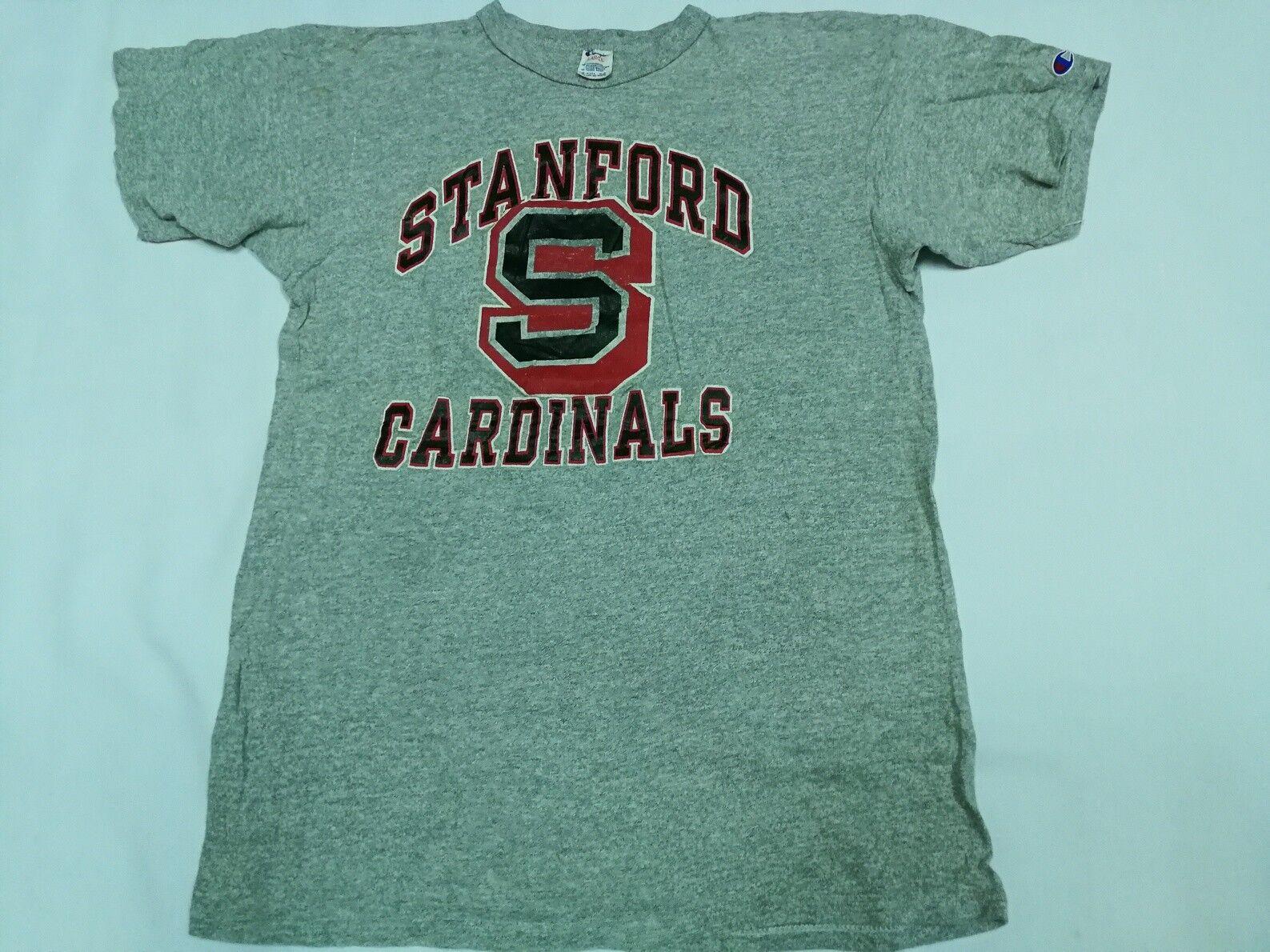 VTG CHAMPION RAYON T SHIRT USA Gray Stanford Cardinals Basketball 80s University