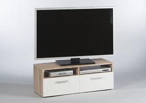 tv lowboard rana eiche sonoma wei tv tisch tv schrank fernsehschrank ebay. Black Bedroom Furniture Sets. Home Design Ideas