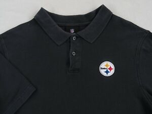 NFL Team Apparel Pittsburgh Steelers Men s Solid Black S S Polo ... d10864ad2