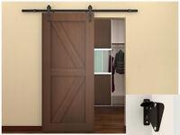 6 Ft Dark Coffee Country Sliding Door Hardware Barn Wood Steel Track Set W/lock