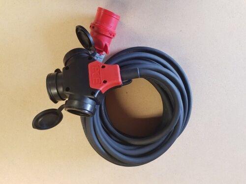 CEE un câble électrique 5x2,5 mm² 16 A Câble Adaptateur 3 Voies Embrayage Schuko 230 V