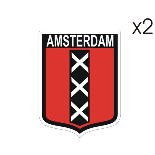 7cm x 5cm Stickers plastifiés ARMOIRIE BLASON AMSTERDAM