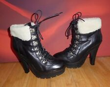 *17* Superb TOPSHOP  Black  leather sheepskin  ankle platform boots   UK 6 EU 39