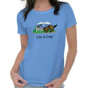 Details about Life is Crap Horse Jump Funny Shirt Cool Gift Idea Edgy Cute  Ladies Tee Shirt T
