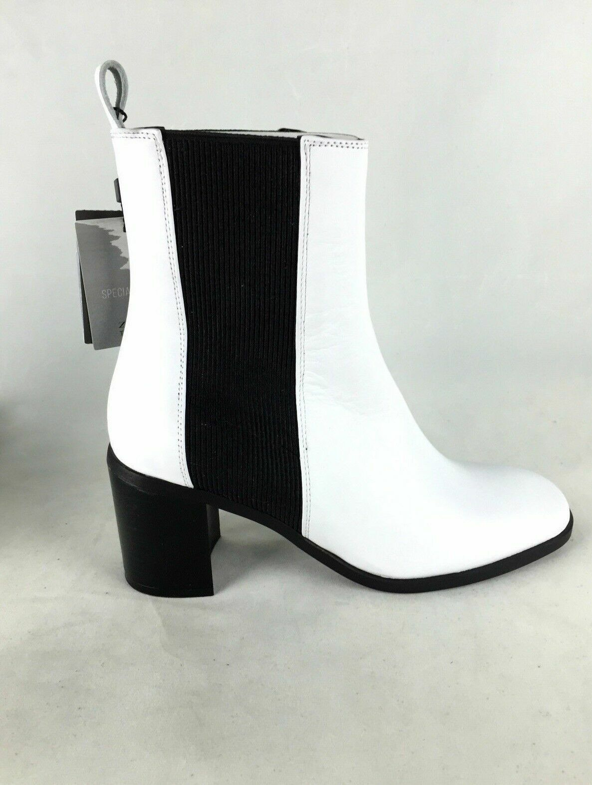 Zara Weiß Leder Stiefeletten Schuhe UK 3 4