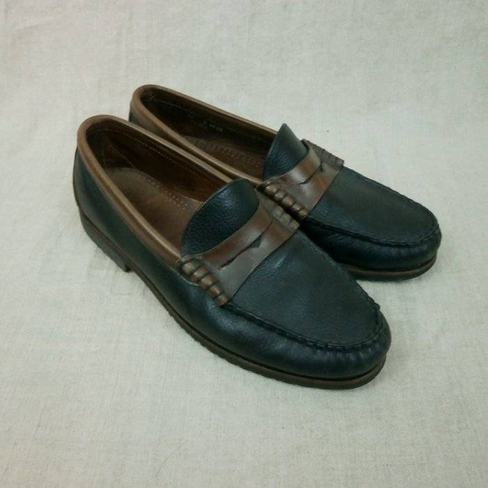 Allen Edmonds Holton Penny Loafers Black w  Brown Mens 12 D Hand Sewn Leather