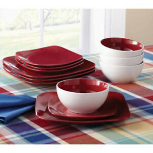 Image is loading 12-Piece-Square-Dinnerware-Set-Dinner-Salad-Plates- & 12-Piece Square Dinnerware Set Dinner Salad Plates Bowls Red ...