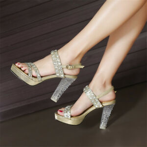 Women-Slingbacks-Clear-High-Heels-Rhinestone-Sandals-Casual-Platform-Party-Shoes