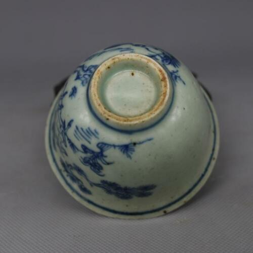 Chinese Old Blue and White Porcelain Deer and Bird Pattern Tea Wine Cup