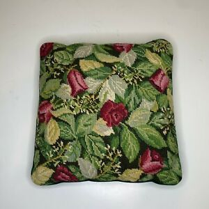 Embroidered-Decorative-Tapestry-Throw-Pillow-Green-Velvet-Backing-Square-floral