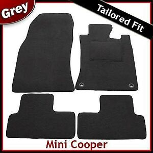 Mini-One-Cooper-Mk1-R50-R53-2001-2006-2-Clips-Tapetes-Tailored-Alfombra-Gris