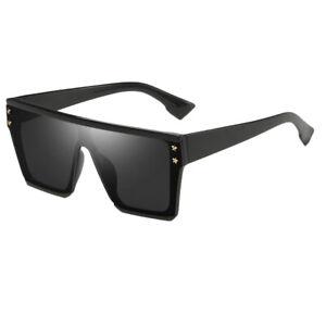 Square-Oversize-Sonnenbrillen-Fashion-Flat-Top-UV400-Sonnenbrille-fuer
