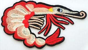 4-75-034-Prawn-Shrimp-Sea-Embroidered-Cut-Out-Iron-On-Patch-Applique-Quality-Crafts