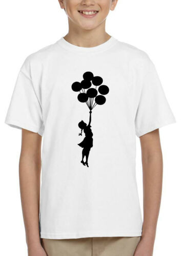 Banksy graffiti Girl with Balloon Unisex for kids school holiday Top t-shirt  1