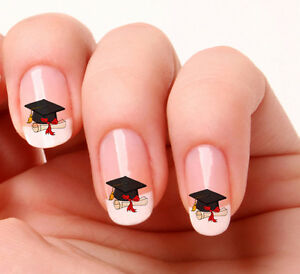 20 Nail Art Decals Transfers Stickers 647 Graduation Hat And