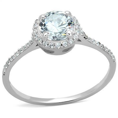 925 Sterling Silver Round Clear CZ Halo Flower Women/'s Engagement  Wedding Ring