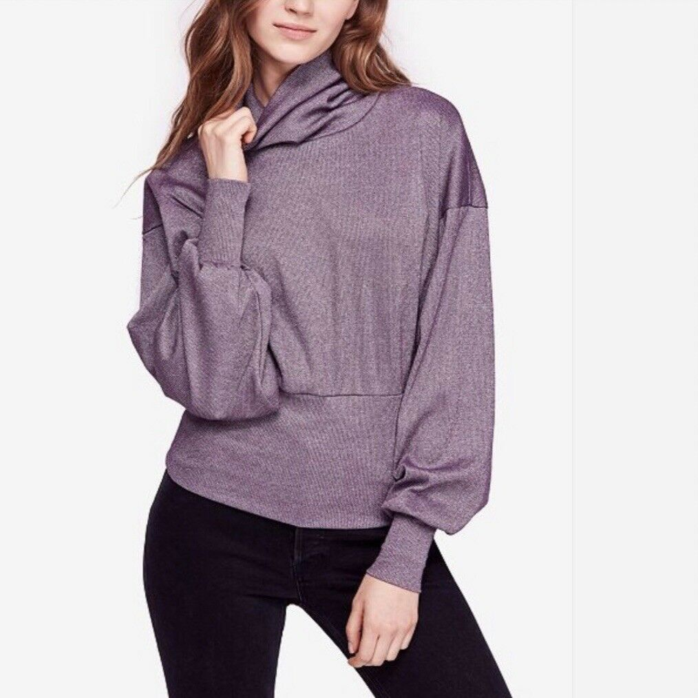 NWT FREE PEOPLE Metallic Shimmer Glam Turtleneck Top LARGE L New  OB877440