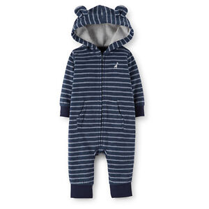 21a9210af NWT Carters Baby Boys Hooded Fleece Jumpsuit Navy Clothes 6 9 12 18 ...