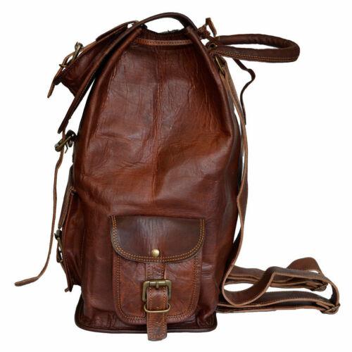"New Genuine Leather 20/"" High Back Pack Rucksack Travel Bag For Men/'s and Women/'s"