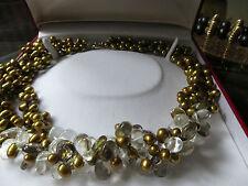 gold  pearl/crystal Necklace, choker/5 rows//21 ins long, akoya grad aa