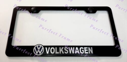 VOLKSWAGEN 3D Emblem GTI PASSAT Stainless Steel Black License Plate Frame