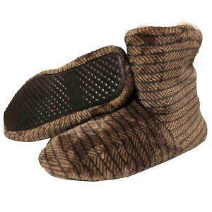 Botas-De-Casa-Marron-Negro-Hombre-Zapatillas-Botines-Pantuflas-Suela-Goma-Rayas