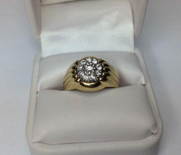 Vintage Men's Ring Diamond Cluster Deco Style (J229)