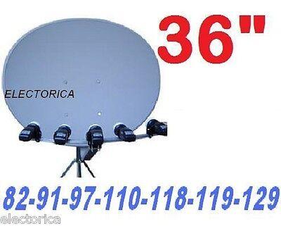 "24/"" ELLIPTICAL OVAL DISH 110//119//129 SATELLITE 3 LNB NETWORK 91 HD FTA 1000 500"