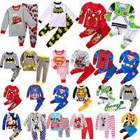 Children Kids Boy Girl Cartoon Sleepwear Home Cotton Nightwear Pj's Pyjamas Set