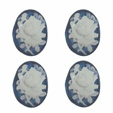 5 Oval Vintage Flower Cabochon 18 x 24mm Flat Back Resin Blue