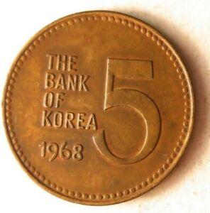 1968-Du-Sud-Coree-5-Won-Excellent-Vintage-Piece-de-Monnaie-Hgbin-1