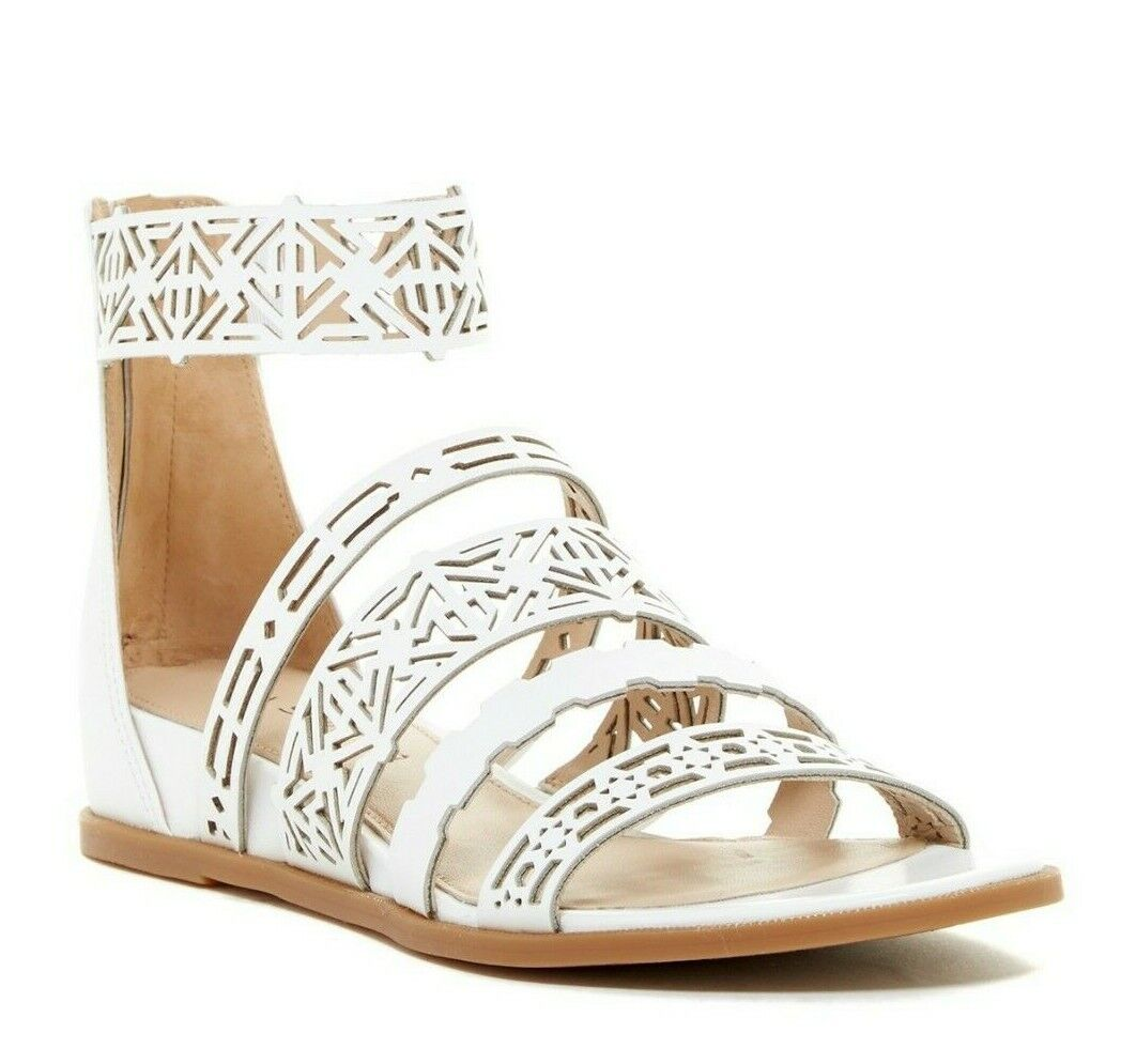 New VIA SPIGA Emilia White Laser Cut Sandals sz 7