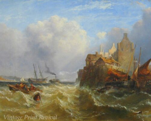 Kirkcudbright Harbor by Clarkson F Stanfield Ships Sea Waves  8x10 Print 1111