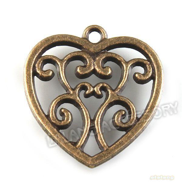 20pcs Wholesale Heart Shape Charm Vintage Bronze Alloy Pendants Findings JJ