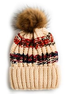 Adult Pom Pom Knitted Beanie Stretchable Puff Multi Colors Double ... ad3eaa1507c