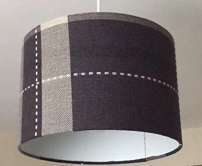 *NEW* Tartan Pendant Light Lamp Ceiling Shade Charcoal Grey Cream Fabric Drum